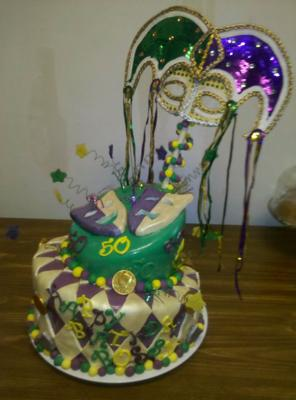 50th mardi gras birthday cake