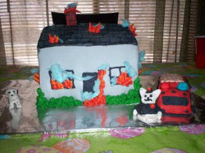 burning house cake