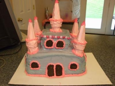 pink and purple castle cake