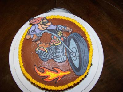 motorcycle cruising cake