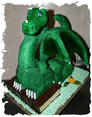 dragon on a book cake