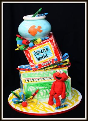 elmo's world topsy turvy cake