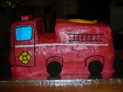 buttercream fire truck cake