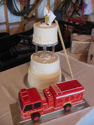 fire truck and wedding cake