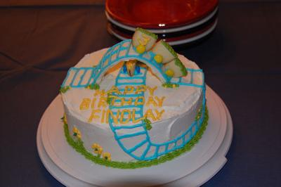 first roller coaster cake