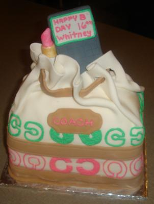 sweet sixteen coach purse cake