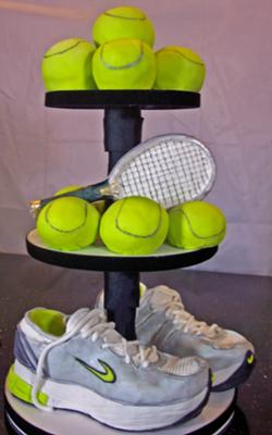 tennis balls and shoes cake