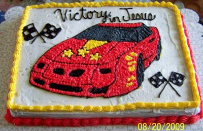 victory in jesus car cake