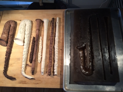chocolate instruments next to chocolate mold