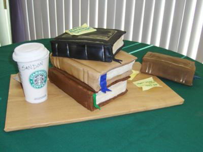 coffee and books cake