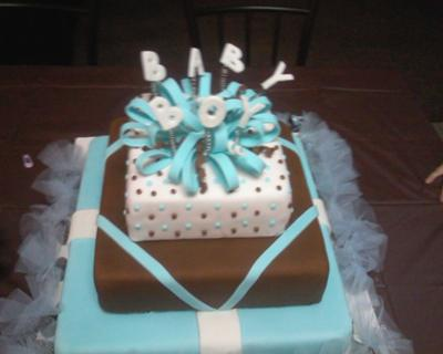 blue and brown gift box baby shower cake