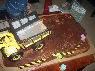 top view of dump truck cake