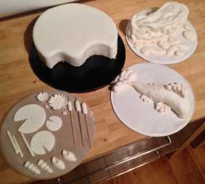fondant pond cake components before airbrushing