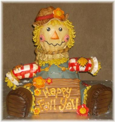 happy fall y'all scarecrow cake