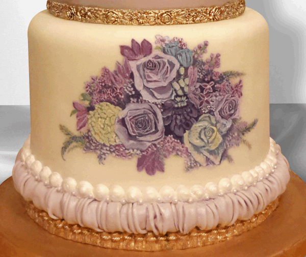 flowers painted on cake