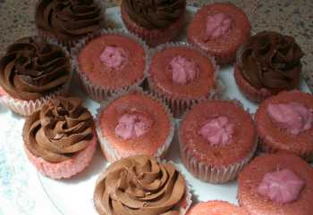 chocolate ganache on cupcakes