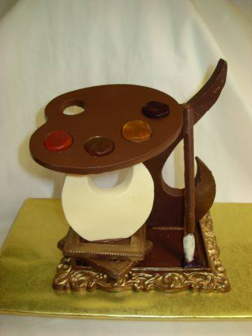 chocolate painter's palette sculpture