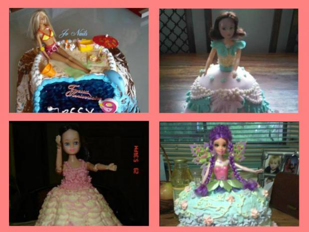 collection of girls' barbie cakes