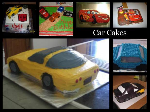 collection of 7 cars cakes