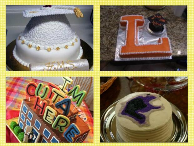 collage of graduation cakes