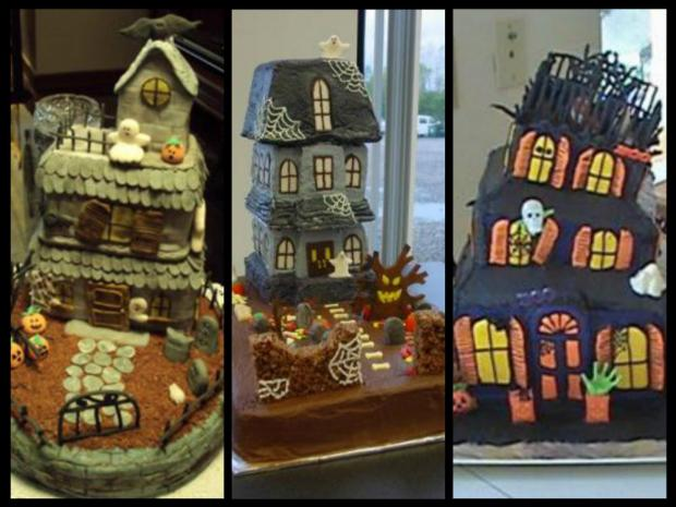 collection of haunted house cakes