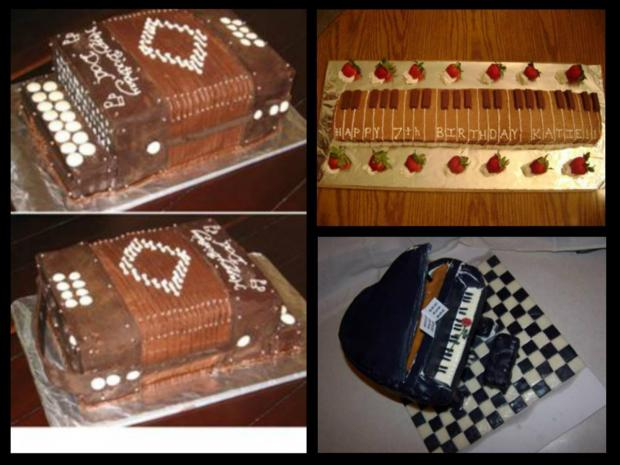 musical instrument cakes