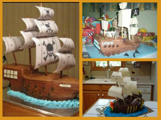 collection of pirate ship cakes
