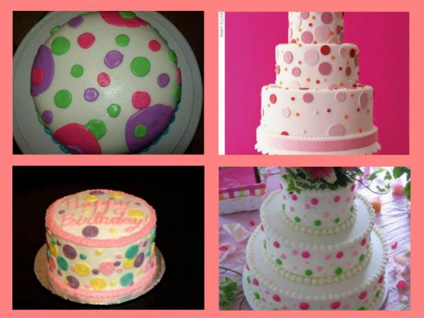 collection of polka dot cakes