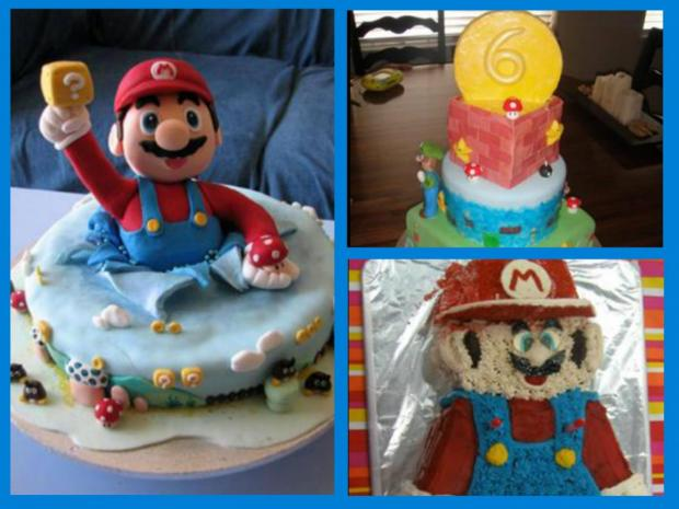 collection of super mario cakes