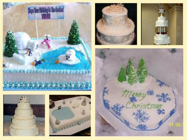 winter scene cakes - wonderland, snowflakes, snow