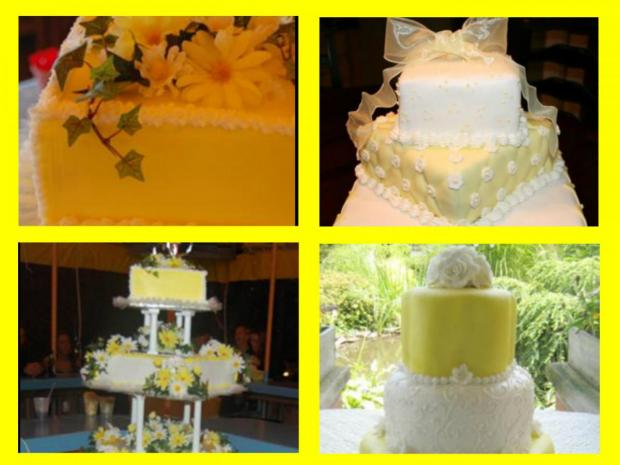collection of yellow wedding cakes