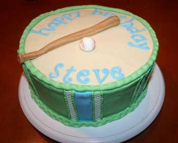 baseball and bat birthday cake