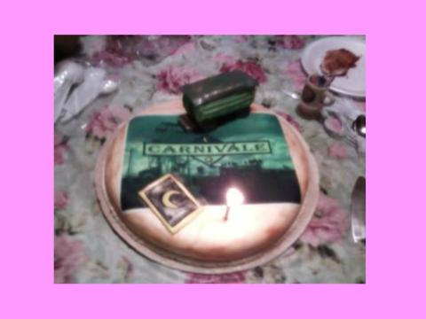 carnival cake with trailer and tarot card