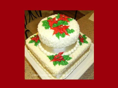 Christmas cake decorating ideas - poinsettia cake