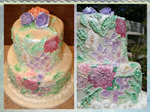 hand painted royal icing mother's day cake