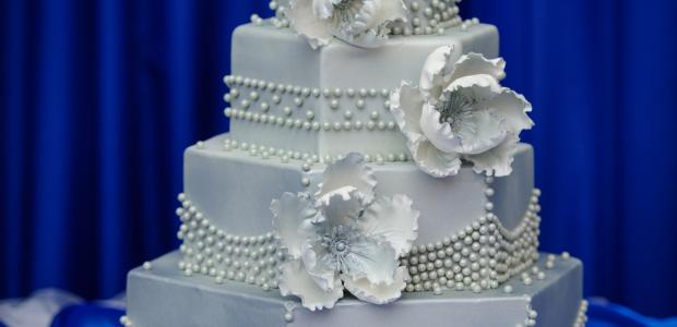 white wedding cake icing on a 3 tier cake