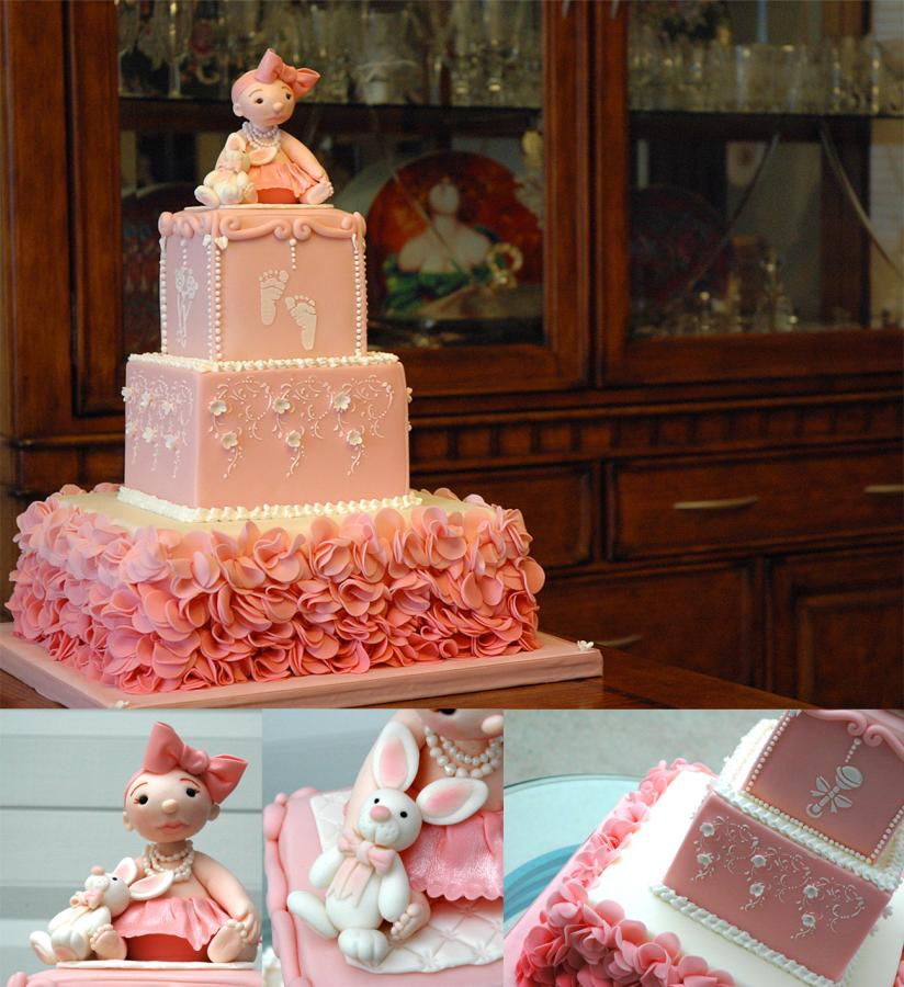 pink baby shower princess cake