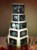 Anniversary cake with edible images